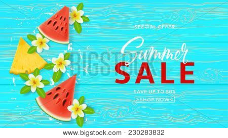 Seasonal Summer Gift Voucher Template. Design Of Coupon Usable For Invitation And Ticket. Top View O