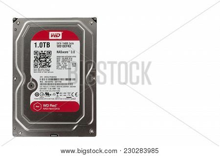 Brnenec, Czech Republic-august  4,2016: Internal Desktop Hard Drive Wd Red With Nasware 3.0 Technolo