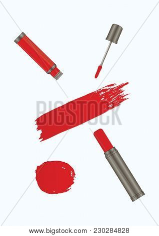 Set - Lipstick Tube, Liquid Lipstick, Watercolor Brush Stroke In Grunge Style - Red Color On White B