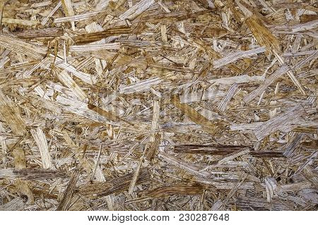 Derivability. The Wall On The Background Of Recycled Wood Chips
