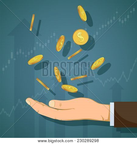 Human Hand Catches Gold Coins. Growth Of Profit And Revenue. Graph And Chart Of Dividends. Stock Vec