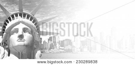 Black And White New York City Cityscape And Skyline Landmark Over The Hudson River. With New York St
