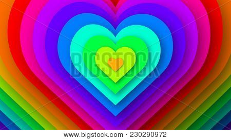 Colorful Love Hearts Expanding. Rainbow Hearts Background