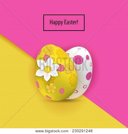Yellow White Two Easter Eggs On The Pink Yellow Paper Background. Bright Easter Card. Paper Easter B