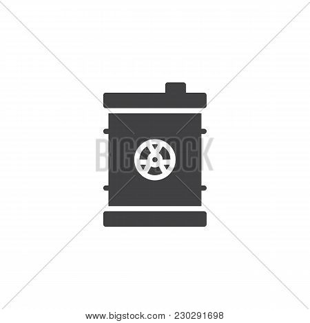 Waste Barrel Vector Icon. Filled Flat Sign For Mobile Concept And Web Design. Nuclear Toxic Barrel S