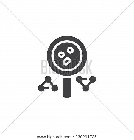 Magnifying Glass And Molecule Vector Icon. Filled Flat Sign For Mobile Concept And Web Design. Magni