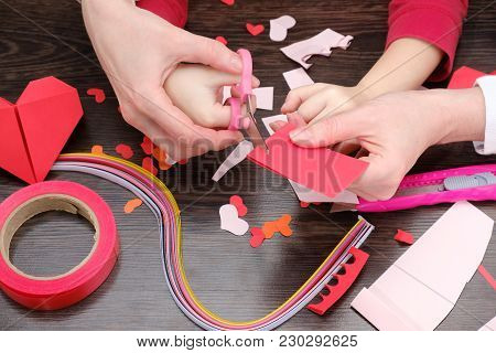 Arts And Craft Supplies For Saint Valentine's. Color Paper, Different Washi Tapes, Hearts Supplies F