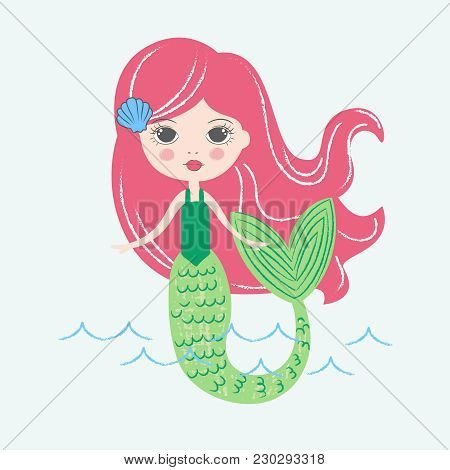 Freehand, Handdrawn Mermaid With Long Red Hair. Drawn With Colored Crayons. Fairy Tale Illustration.