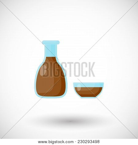 Soy Sauce Flat Vector Icon, Oriental Seasoning Flat Design. Food, Eating Object, Soy Product With Ro