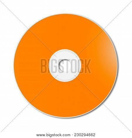 Orange Cd - Dvd Label Mockup Template Isolated On White