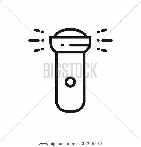 Flashlight Line Icon. Lantern. Camping Sign And Symbol