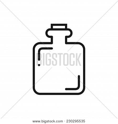 Hip Flask Line Icon. Camping Sign And Symbol. Alcoho Men Drinking Accessory