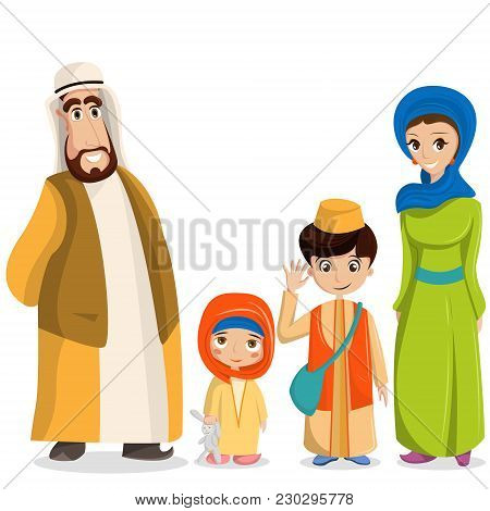 Vector Arabic Family In National Clothes. Parents, Children In Muslim Costumes, Islamic Clothing. Pe