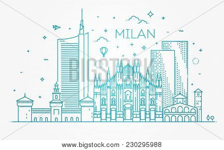 Italy, Milan Architecture Line Skyline Illustration. Linear Vector Cityscape With Famous Landmarks,