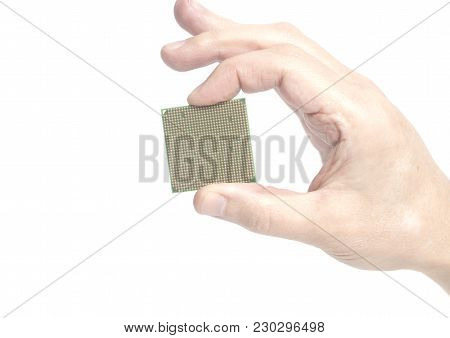 Central Processing Unit Cpu Microchip Male Hand Holding Isolated On White