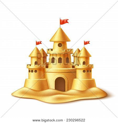 Vector Realistic Sand Castle, Fort Or Fortress With Towers, Gates And Flags. 3d Summer Vacation Trav