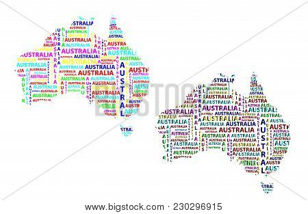 Sketch Australia Letter Text Continent, Australia Word - In The Shape Of The Continent, Map Of Conti