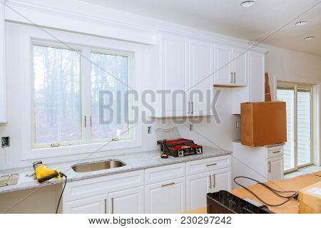 Installed Wood Kitchen Cabinets With Modern Of Installs Cabinet.