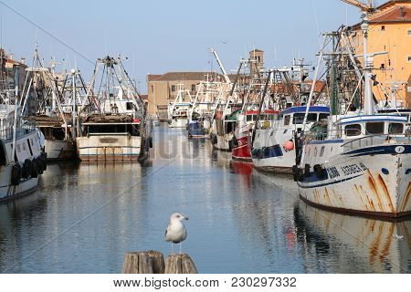 Chioggia, Ve, Italy - February 11, 2018: Big Fishing Boats Moored In The Port On The Adriatic Sea  A