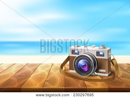 Vector Realistic Vintage Retro Film Photo Camera On Wooden Floor Deck Timbers Walkway Beach Coast Co