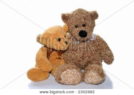 Two Teddy Bears On White Background