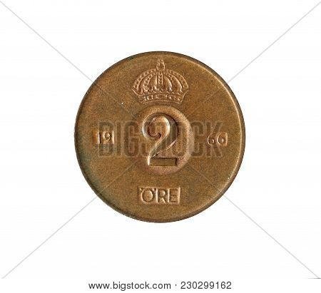 Vintage Two Ore Coin Made By Denmark 1966