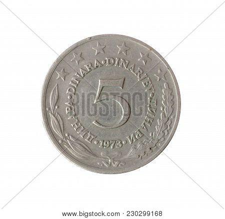 Vintage Five Dinar Coin Made By Yugoslavia 1973