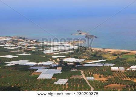 Greenhouse Farming Landscape Of Crete Island In Greece. Agriculture Along The Coast - Olive Groves A