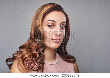 Portrait of young woman with trend dyed hair, professional hair coloring poster