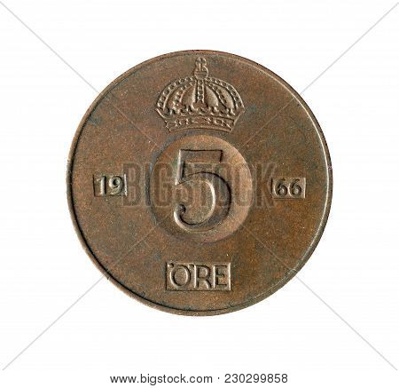 Vintage Five Ore Coin Made By Sweden 1966