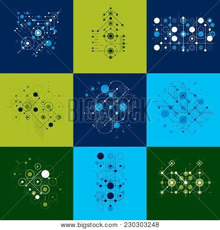 Set Of Vector Bauhaus Abstract Backgrounds Made With Grid And Overlapping Simple Geometric Elements,