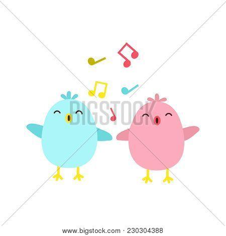 Vector Illustration Of Colorful Singing Birds. Vector Birds.