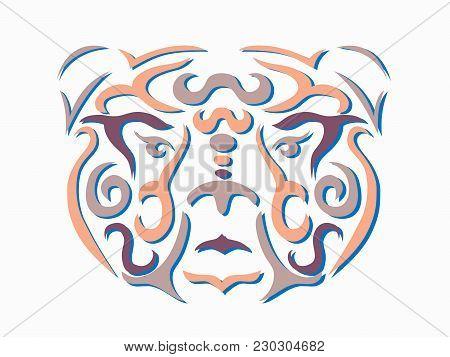Tribal Bear Illustration, Brown Bear In Tribal Style, Ornamental White Line Bear