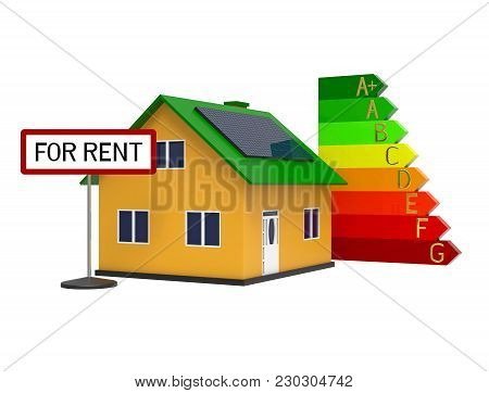 House With Solar Panel For Rent, 3d Rendering, On White Background