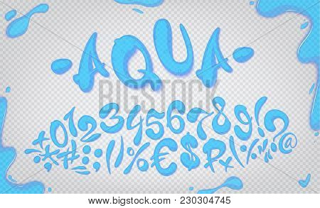 Aqua Hand Drawn Signs And Numbers, Vector Illustration. Aqua Digits