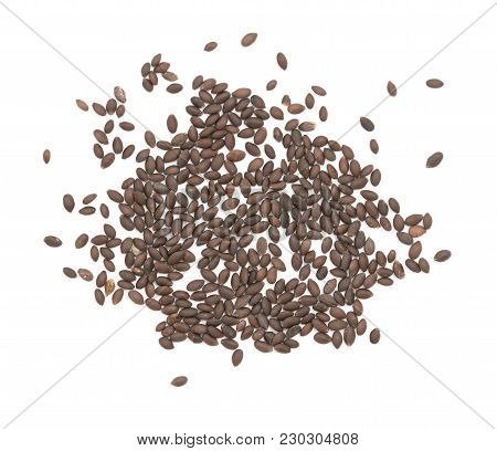 Small Black Oval Annual Clary Seeds - Salvia Hormonium - Scattered On A White Background
