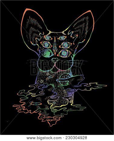 An Illustration Of A Psychodelic Cat. Color Drawing Of A Cat.