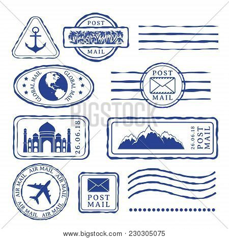 Post Stamps With Travel Decorative Elements. Isolated Vector Signs For Design
