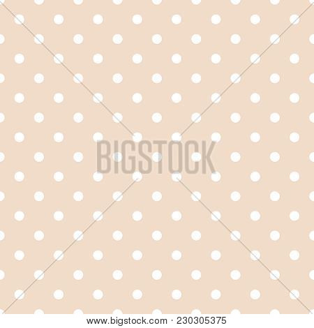 Tile Vector Pattern With White Polka Dots On Pastel Pink Background For Seamless Decoration Wallpape