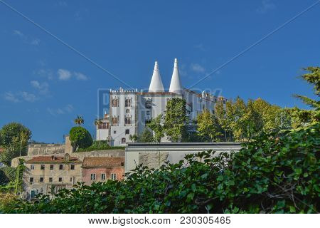 Full View Of National Sintra Palace_ Portugal