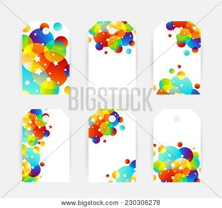 Creative Kids Cards With Colorful Bubble Decoration And Starry Texture. Labels And Tags