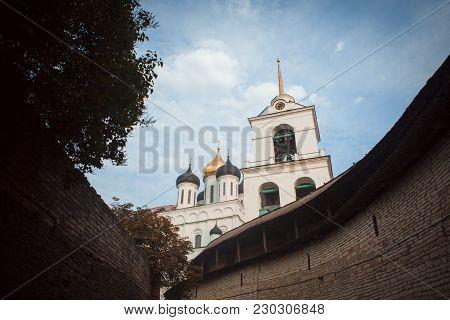 View of Pskov Kremlin, Pskov Krom, an ancient citadel in Pskov Oblast, Russia poster