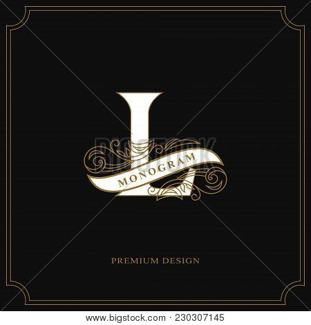Elegant Letter L. Calligraphic Beautiful Logo With Tape For Labels. Graceful Style. Vintage Drawn Em
