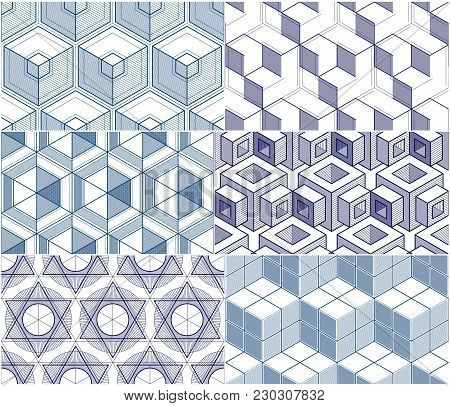 Geometric 3d Lines Abstract Seamless Patterns Set, Vector Backgrounds Cubes Collection. Technology S