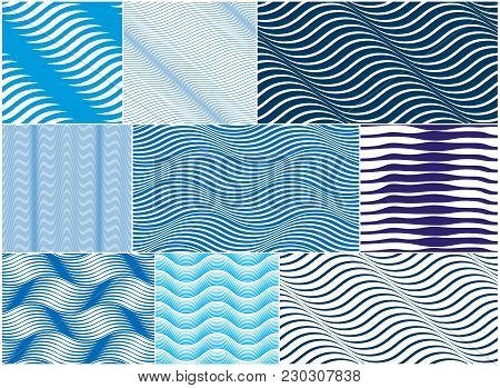 Chaotic Waves Seamless Pattern, Vector Curve Lines Abstract Repeat Tiling Background, Blue Color Rhy