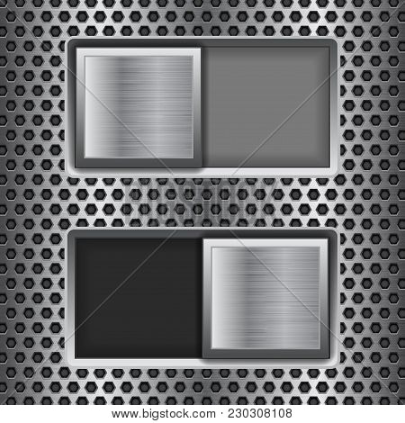 On And Off Square Slider Buttons. Metal Switch Interface Buttons On Perforated Background. Vector 3d