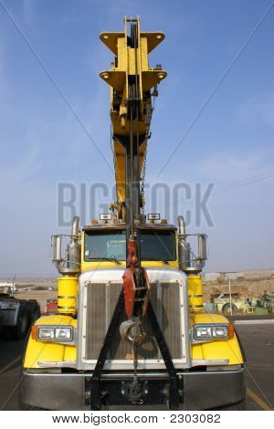 Flat Bed Truck With A Crane