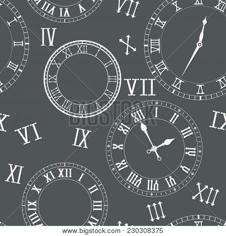 Time Seamless Pattern. Clocks, Clock Faces, Roman Numerals. Vector Illustration