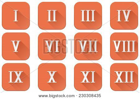 Roman Numerals. Orange Square Icons. Vector Illustration Isolated On White Background