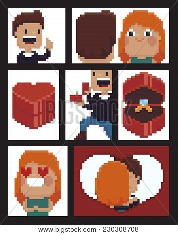 Pixel Art Comic Strip With Man Doing Marriage Proposal Staying On His Knee, Happy Girl, 8-bit Heart